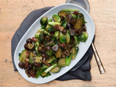 Brussels Sprouts & Castanea Chestnuts in a Maple Glaze